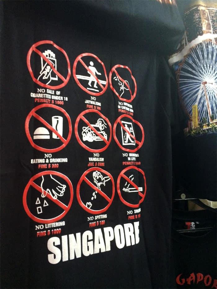 choses a ne pas faire a singapour